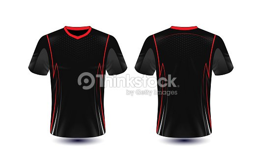 Black And Red Layout Esport Tshirt Design Template Vector Art