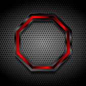 Black and red octagon on perforated metallic texture. Vector graphic design