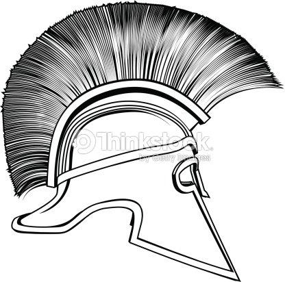 d1ef101d9 Black And White Ancient Greek Warrior Helmet stock vector - Thinkstock