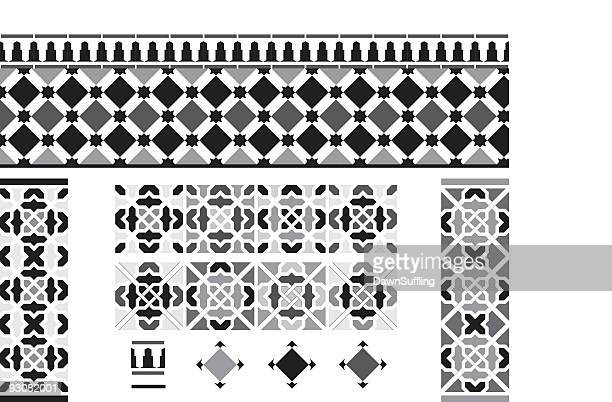 Black and white Andalusian Spanish, Moorish tiles