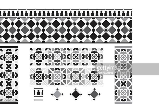 Schwarzen und weißen spanischen Fliesen von Andalusien