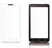 illustration black and android phone on white background