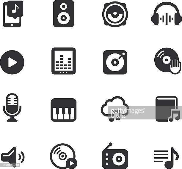 Black and white audio icon set