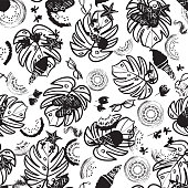 Black and white beach summer vacation seamless pattern. Vector background. Great for textile, fashion, home decor, paper.