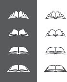 Set of open book icons  isolated on black and white backgrounds. Can be used as logo for bookstore or shop, library, educational or learning concept etc.