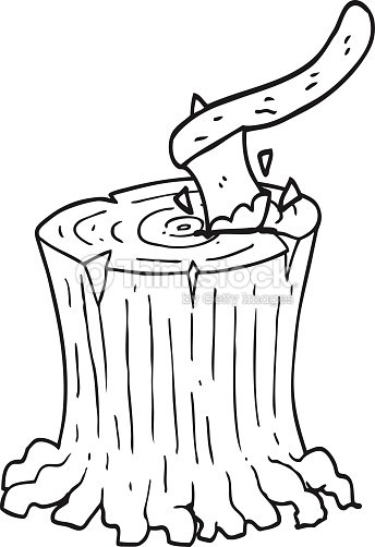 Black And White Cartoon Axe In Tree Stump Vector Art