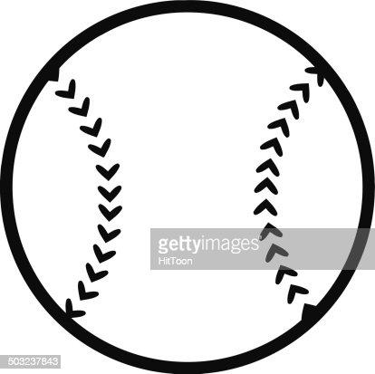 Black And White Cartoon Baseball Ball Vector Art | Getty ...