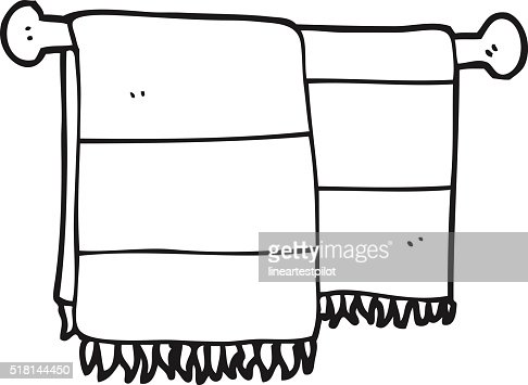 black and white cartoon bathroom towels vector art | thinkstock