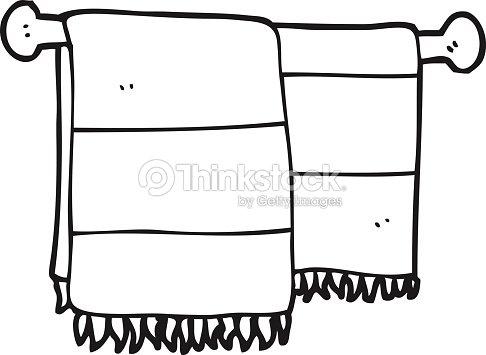 Black And White Cartoon Bathroom Towels Vector Art Thinkstock