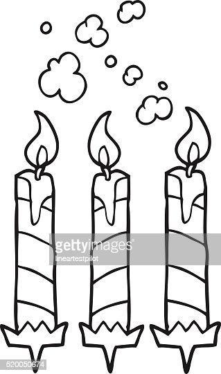 Black And White Cartoon Birthday Cake Candles Vector Art Thinkstock