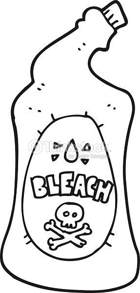Blanco Y Negro De Blanqueador De Historieta Botella Arte vectorial ...