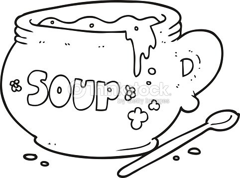 Black And White Cartoon Bowl Of Soup Vector Art | Thinkstock