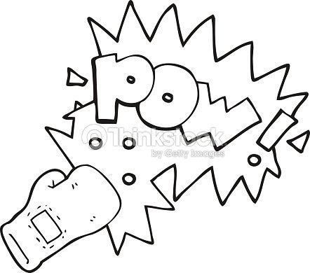 Noir et blanc dessin anim gants de boxe de coup de poing - Gant de boxe dessin ...