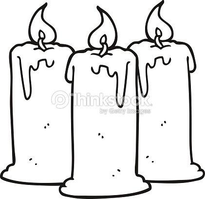 Noir et blanc dessin anim bougies clipart vectoriel - Dessin de bougies ...