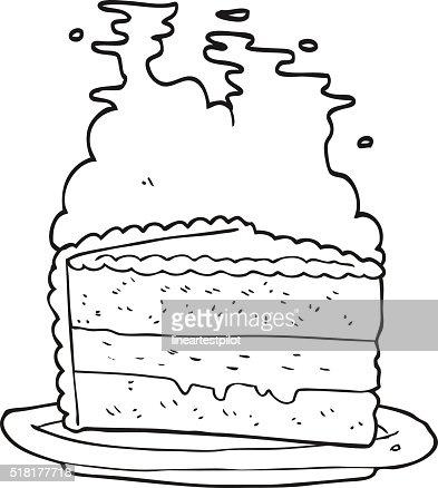 gâteau de dessin animé noir et blanc clipart vectoriel | thinkstock