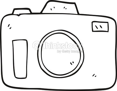 Black And White Cartoon Camera Vector Art | Thinkstock