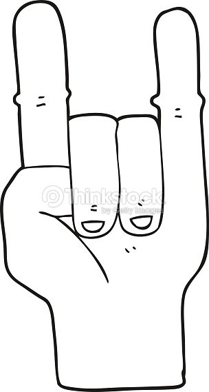 Black And White Cartoon Devil Horns Hand Symbol Vector Art Thinkstock