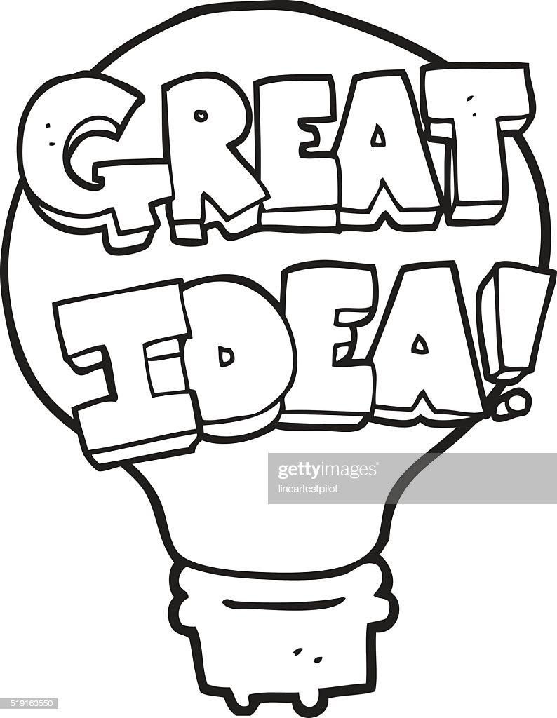 Black And White Cartoon Great Idea Light Bulb Symbol Vector Art