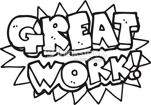 Black And White Cartoon Great Work Symbol stock vector
