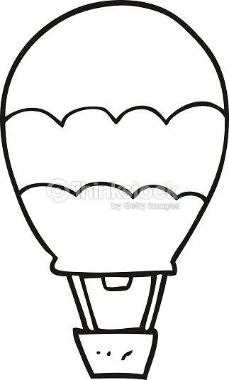 Noir Et Blanc Dessin Animé De Chaud Air Ballon Clipart Vectoriel