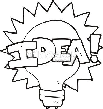 Black And White Cartoon Idea Light Bulb Symbol Vector Art Thinkstock