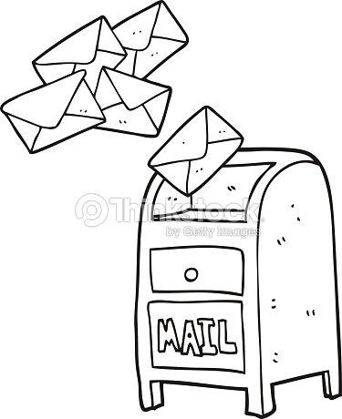 Black And White Cartoon Mail Box Vector Art Thinkstock