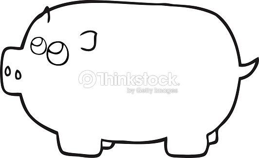 Noir et blanc dessin anim tirelire cochon clipart - Tirelire dessin ...