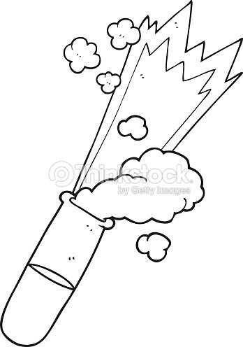 Black And White Cartoon Science Test Tube Vector Art