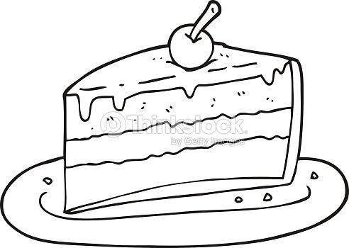 noir et blanc dessin animé part de gâteau clipart vectoriel