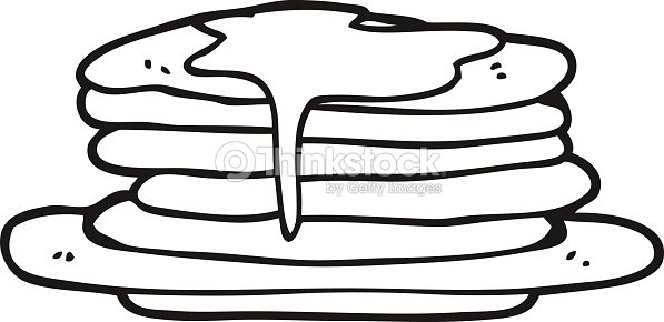 Black And White Cartoon Stack Of Pancakes stock vector