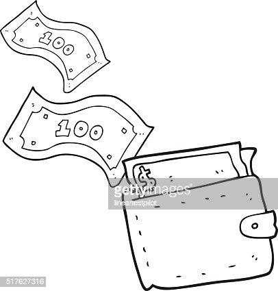 black and white cartoon wallet full of money vector art