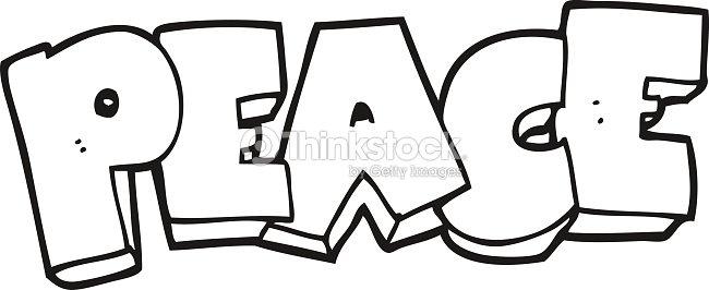 Noir et blanc dessin mot de la paix clipart vectoriel thinkstock - Dessin sur la paix ...