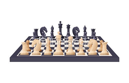 Black And White Chess Game Pieces Figures On Chess Board Vector Art
