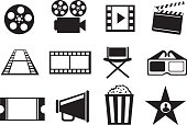 Set of twelve vector icon illustrations on cinema movie entertainment concept in black and white isolated on white background.