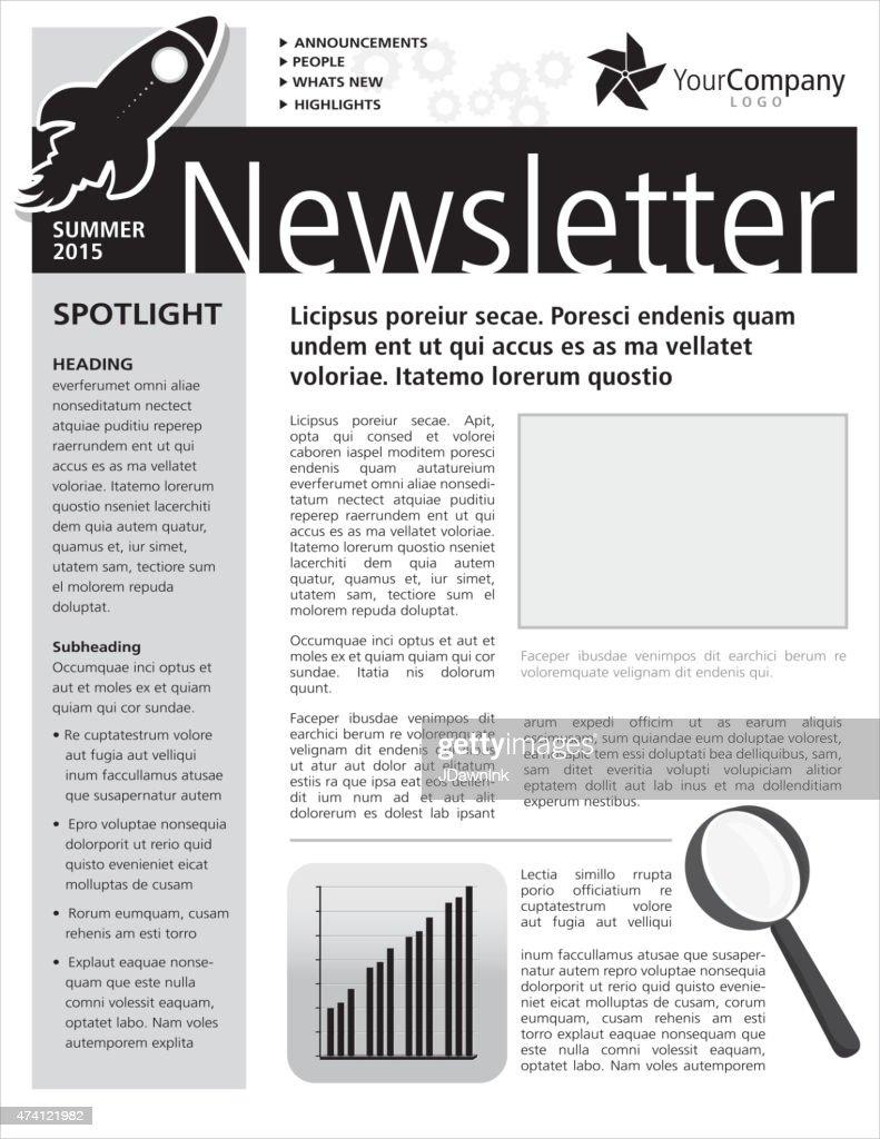 Black And White Company Newsletter Design Flyer Template Vector – Black and White Flyer Template