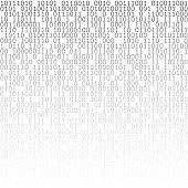 Black and white digital matrix background. Binary computer code. Vector illustration