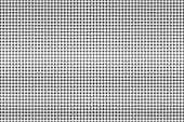 Black and white dotted gradient. Contrast half tone vector background. Subtle dotted halftone. Monochrome retro texture. Black ink dot on transparent backdrop. Pop art dotwork. Abstract backdrop