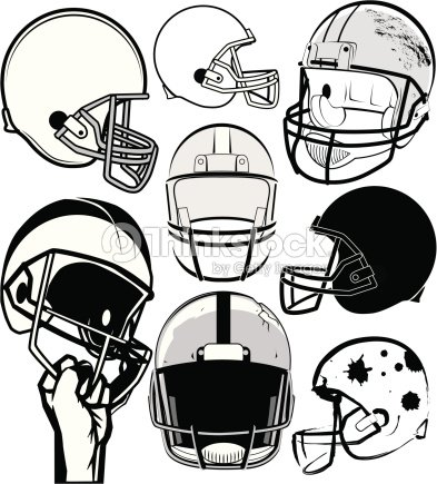 black and white drawing of various football helmets vector art