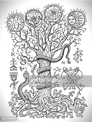 Black And White Drawing With Mystic And Christian Religious Symbols