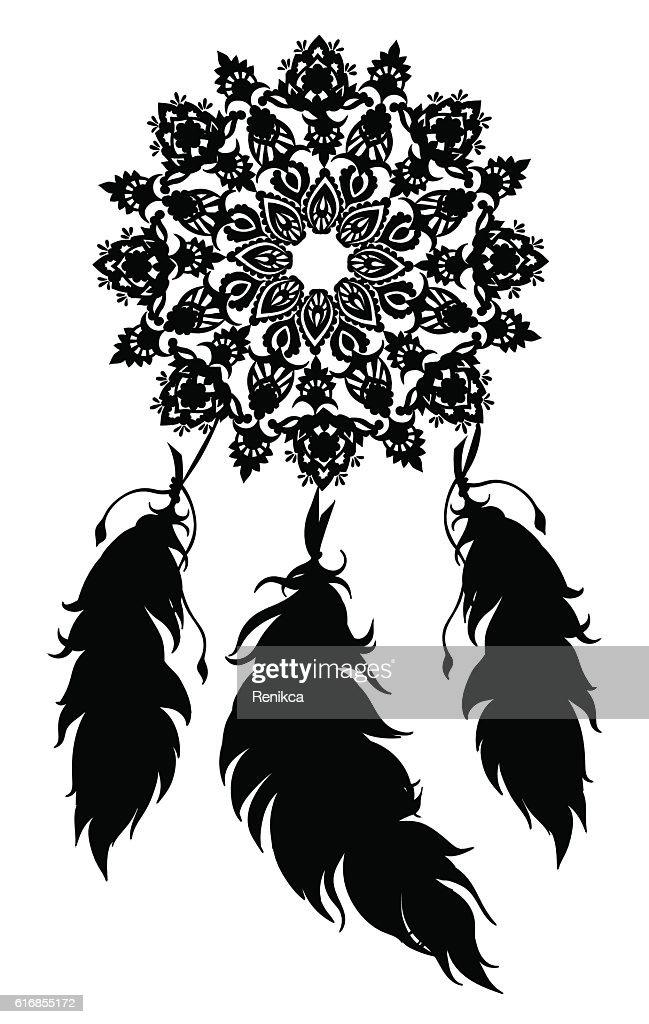 Black and White Dreamcatcher : Vector Art