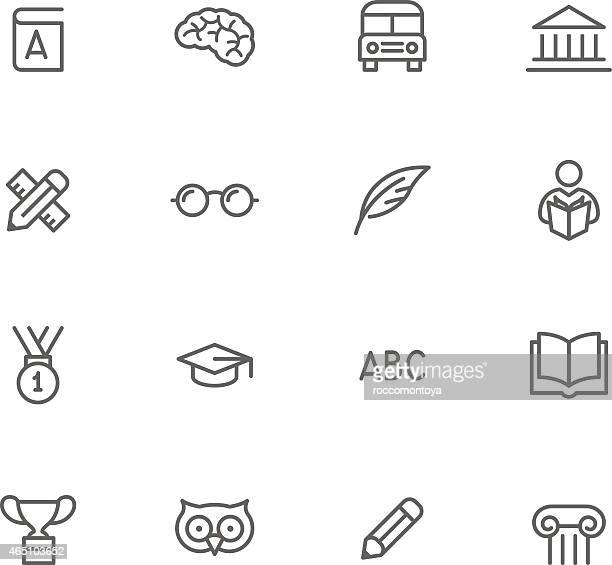 Black and white education icon set