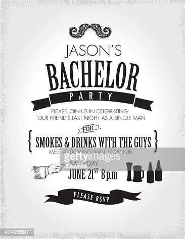 elegant bachelor party invitation design template vector art, Party invitations