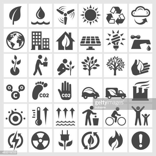 Noir et blanc d'icônes de protection de l'environnement