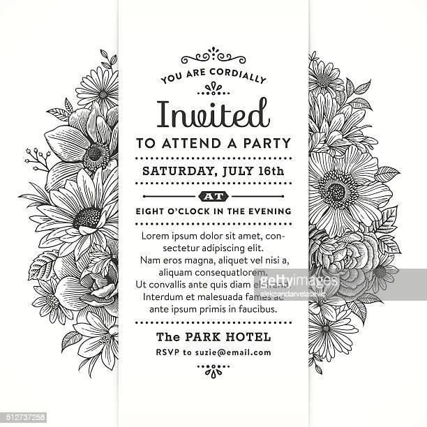 Schwarzen und weißen Blumenmuster-Party-Einladung