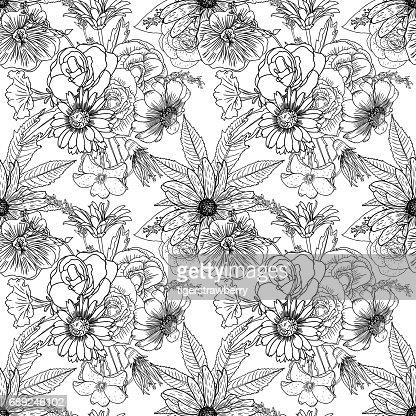 Blanco Y Negro Patron De Flores Para Colorear Dibujo Floral