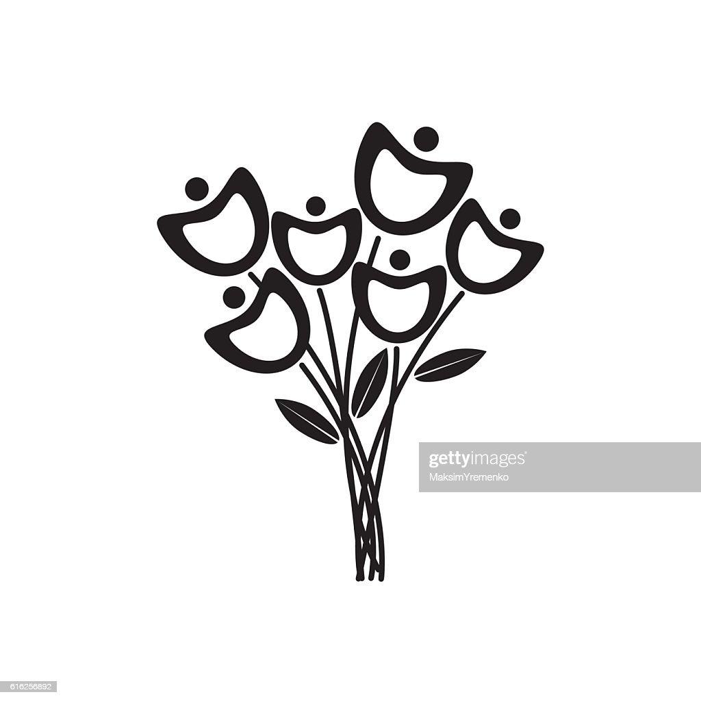 Preto e branco de Flores : Arte vetorial