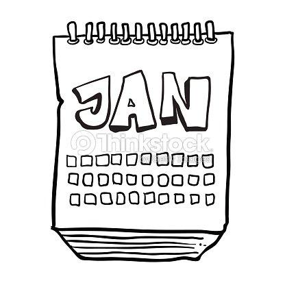 Calendario Dibujo Blanco Y Negro.Dibujo Animado En Blanco Y Negro Dibujado A Mano Alzada Que