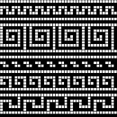 Black and white geometric greek meander traditional seamless pattern, vector background