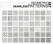 Black and white geometric seamless patterns. Thin line monochrome tiling textures set. Vector illustration.
