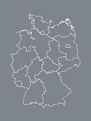 A black and white Germany map with border lines of different states and shading on dark background vector illustration